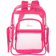 17-inch Clear Security Backpack With Pink Trim, Transparent Pvc School/sport Bag