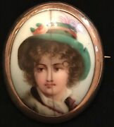 Victorian 14k Rose Gold/hand Painted Porcelain Estate Piece Brooch-2andrdquo X 1 3/4andrdquo