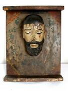 Antique Divino Rostro Holy Face 19th C.mexican Carved Wood - Rare