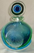 Rare Vtg Perry Coyle Etched Faceted Green Blue Glass Vase Bottle W/stopper