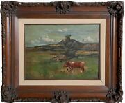 George Miller Cows Oil On Canvas Signed L.r.