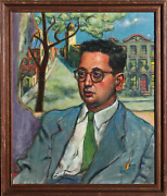 George Rhoads Portrait Of Man In Blue Suit Double-sided Oil On Canvas Signed
