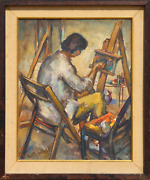 George R. Imhof Artist At The Easel Oil On Board Signed L.l.