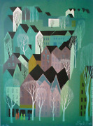 Eyvind Earle Village Screenprint Signed And Numbered In Pencil