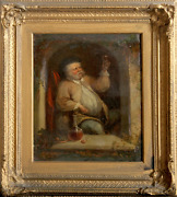 C. Waller Portrait Of A Man Toasting With Wine Oil On Board Signed
