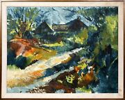 Jos Rovers, Untitled - Farm With Chickens, Oil On Canvas, Signed L.r.