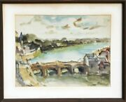 Willy Rieser Swiss Landscape With Bridge Watercolor Signed L.r.