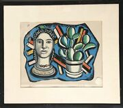 Fernand Leger Head And Plant Screenprint Signed And Numbered In Pencil