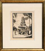Unknown Artist Onde Meine Op Bali Linocut Signed In Pencil