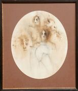 Ramon Santiago Elegant Farm Pencil And Wash On Paper Signed And Dated