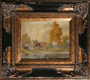 Unknown Artist, Farmhouse With Geese, Oil On Board, Signed 'perulu' L.r.