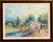 Rouget Secluded Village Oil On Canvas Signed