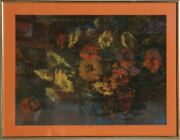 Unknown Artist Basket Of Flowers Pastel On Paper Signed L.l. And039d. Kelly Sivsky