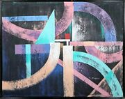 Unknown Artist Pastel Arches On Black Acrylic On Canvas Signed And039s. Mcgrawand039 L.