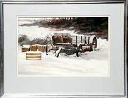 James Feriola Wagon In Snow Watercolor On Paper Signed L.r.
