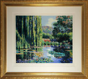 Claude Cambour View Of Monetand039s Garden Screenprint Signed And Numbered In Penc
