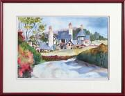 Ginny Masters, Country Farmhouse, Watercolor On Paper, Signed L.r.