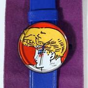 Peter Max Watch - Blonde Portrait Wristwatch With Blue Leather Band
