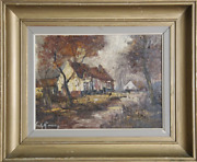 Unknown Artist Autumn House In The Woods Oil On Canvas Signed And039emily Grossman
