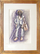 Unknown Artist, Farmhand With Knife, Ink And Watercolor On Paper, Signed 'r. Dun