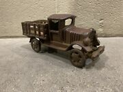 Toy Farm Stake Truck Heavy Cast Iron Moving Wheels