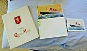 Lot Of 3 Cruise Ship Rms Queen Mary Illuminated Book + Menu + Letter Card 1960
