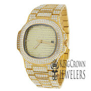 Sold Stainless Steel 40mm Pp Simulated Diamond 18k Yellow Gold Finish Mens Watch