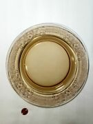 Vintage Depression Ware 9½ Glass Dinner Plate Brown Amber With Floral Etching