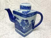 Triangular Ironstone Variant Blue Willow Teapot 8.5in H X10in W