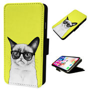 Funny Moody Cat - Flip Phone Case Wallet Cover Fits Iphone / Samsung Yellow