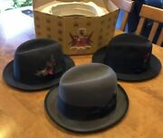 Lot Of 3 Vintage 1940s/50s/60s Knox Disney Stetson Fedora Hats 6 7/8 - 7 And Box