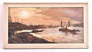 Vintage George Schwacha Oil On Board Nautical Bay Boat Expressionism Painting