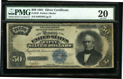 50 1891 Silver Certificate Fr335 Everett Pmg Very Fine 20 Hard To Find Note