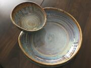 Stunning Beautiful Clarksville Pottery Chips Crackers Vegetables And Dip Bowl