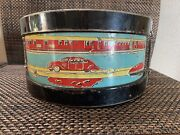 Antique Tin Lithograph Toy Drum - Planes Trains And Automobiles
