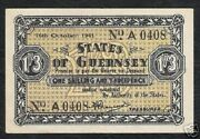Guernsey 1 Shilling 3 Pence P23 1941 Germany Occupation Aunc Rare Money Banknote