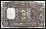 India 1000 1,000 Rupees P65 A 1975 Rare Lion Temple Large Note W/o Chop/writing