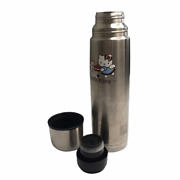 Hello Kitty Large Thermos, Silver. Includes Container, Lid, And Inside Stopper.