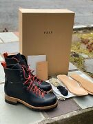 Feit Menand039s Bamboo Military Hiker Boots Black/red Size 44 11 Us Brand New
