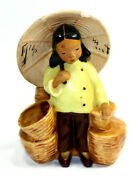 Vintage Mccarty Brothers California Pottery Asian Girl Parasol Figural Planter