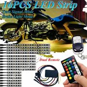 16x Rgb Motorcycle Led Light Neon Accent Strip Car Underglow Brake Mode System