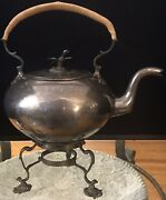"""Handmade Hand Wrought Early American Colonial Reeded Teapot And Stand-12"""" High"""