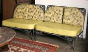 Furniture, Pair Of Outdoor Benches, Avocado Green With Leaf Pattern Upholstered