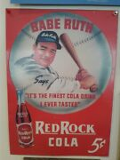 Babe Ruth Red Rock Cola Man Cave 12x16 Tin Sign