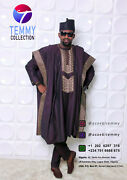 African Agbada Set Matching Shirt And Pant/african Clothing / African Men Cloth