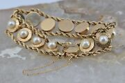 14k Yg Rope Twist Bracelet With Pearls Unique Well Made Vintage Circa 1950
