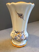Vth Majolica Hand Painted Country French Pottery Vase Bird And Basket Marked 5