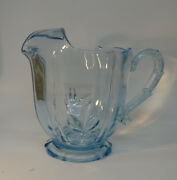 Fostoria Blue Baroque Footed Pitcher With Ice 7 1/4