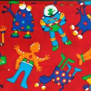 8 Yards Novelty Print Sewing Fabric Robots Aliens Juvenile Kids Vip Cotton Red