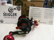 Seigler Custom Sg Small Game Lever Drag Reel Right Hand Black Matte And Red Finish